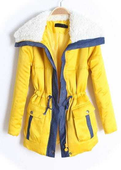 Yellow Lapel Long Sleeve Drawstring Zipper Coat