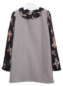 Grey Long Sleeve Cross Pattern Dress