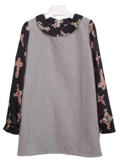 Grey Long Sleeve Cross Pattern Dress
