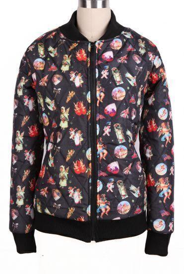 Black Long Sleeve Angel Baby Pattern Zipper Coat