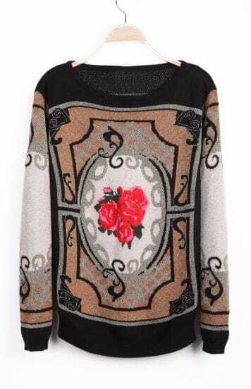 Black Long Sleeve Rose Geo Pattern Sweater