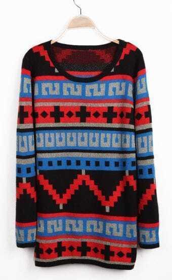 Blue Long Sleeve Geo Pattern Knit Sweater