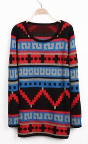 Blue Long Sleeve Geo Pattern Knit Sweater
