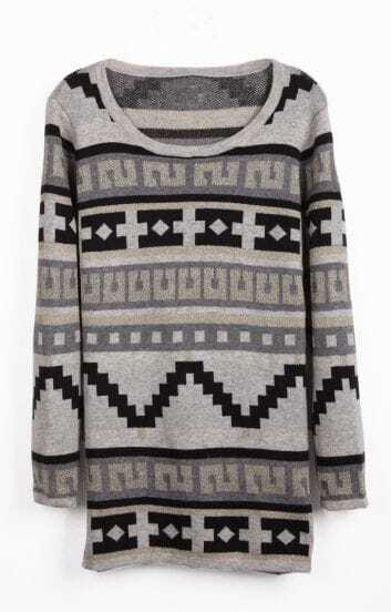 Grey Long Sleeve Geo Pattern Knit Sweater