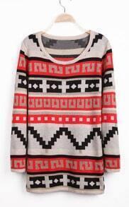 Apricot Long Sleeve Geo Pattern Knit Sweater