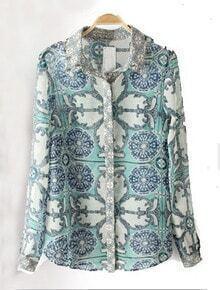 Blue Long Sleeve Rivet Floral Blouse