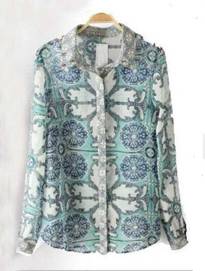 Blue Long Sleeve Rivet Floral Blouse