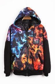 Black Hooded Fire Letters Pattern Zipper Coat
