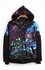 Black Hooded Galaxy Letters Pattern Zipper Coat