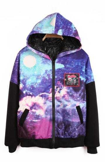 Purple Hooded Galaxy Letters Maple Leaf Print Coat