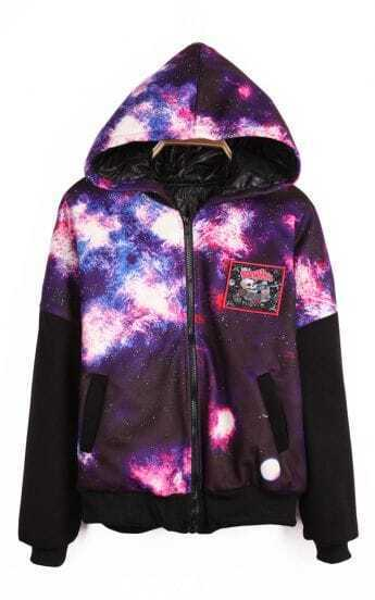 Purple Hooded Zipper Galaxy Letters Print Coat