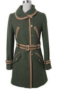 Green Lapel Drawstring Waist Buttons Coat
