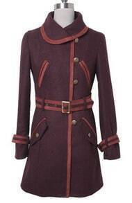 Maroon Lapel Drawstring Waist Buttons Coat