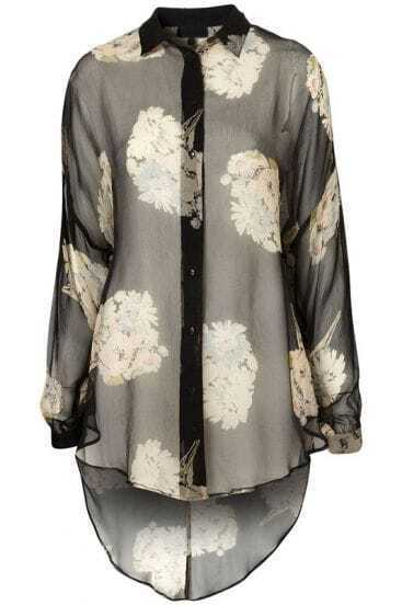 Grey Long Sleeve Floral High-Low Blouse