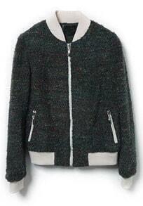 Green Long Sleeve Zipper Pockets Jacket