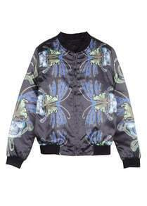 Black Long Sleeve Butterfly Print Zipper Jacket