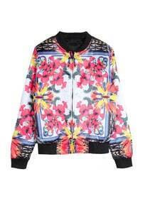 Red Long Sleeve Floral Zipper Jacket