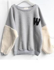 Grey Long Sleeve W Cartoon Pattern Sweatshirt