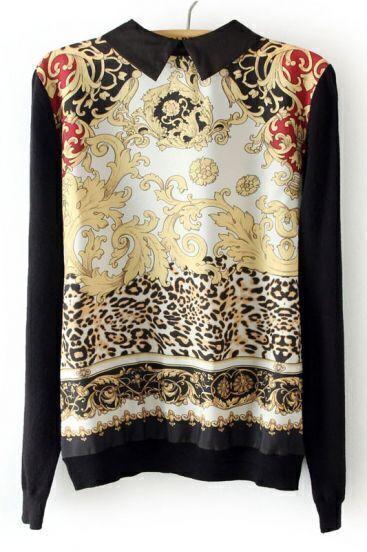 Black Long Sleeve Totem Leopard Pattern Knitwear