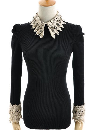 Black Puff Sleeve Lace Rhinestone Sweater
