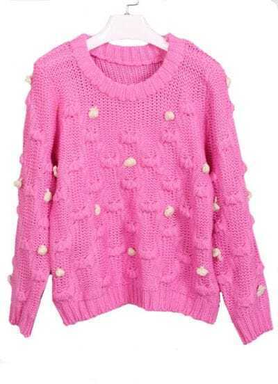 Pink Batwing Long Sleeve Ball Embellished Sweater