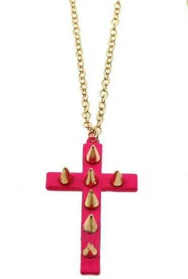 Pink Cross Gold Rivet Necklace