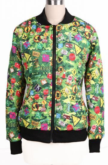 Green Camouflage Signpost Pattern Zipper Coat