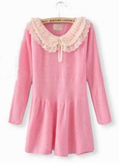 Pink Long Sleeve Chiffon Lapel Ruffles Sweater Dress
