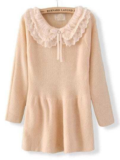 Beige Long Sleeve Chiffon Lapel Ruffles Sweater Dress