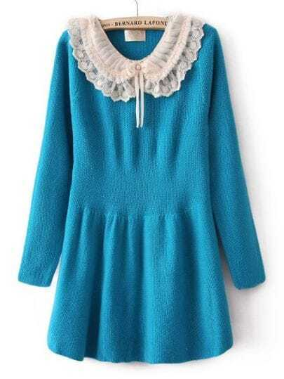Blue Long Sleeve Chiffon Lapel Ruffles Sweater Dress