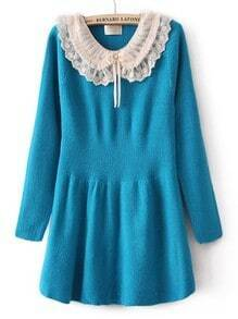 Blue Long Sleeve Chiffon Lapel Ruffles Sweater Dress
