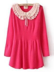 Rose Red Long Sleeve Chiffon Lapel Ruffles Sweater Dress