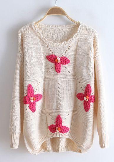 Beige Long Sleeve Flowers Embellished Sweater