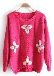 Rose Red Long Sleeve Flowers Embellished Sweater