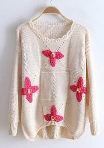 Beige Long Sleeve Flowers Embellished Sweater
