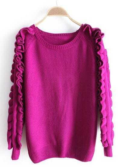 Purple Ruffles Long Sleeve Loose Sweater