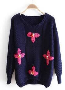 Navy Long Sleeve Flowers Embellished Sweater