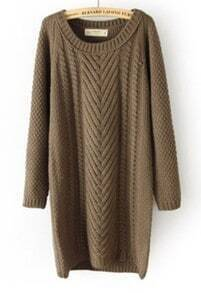 Khaki Long Sleeve Long Cable Knit Sweater