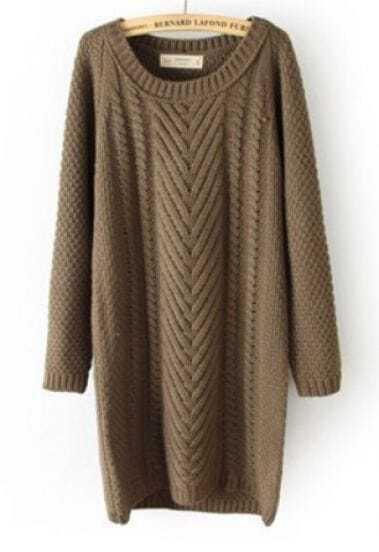 Khaki Long Sleeve Long Cable Knit Sweater