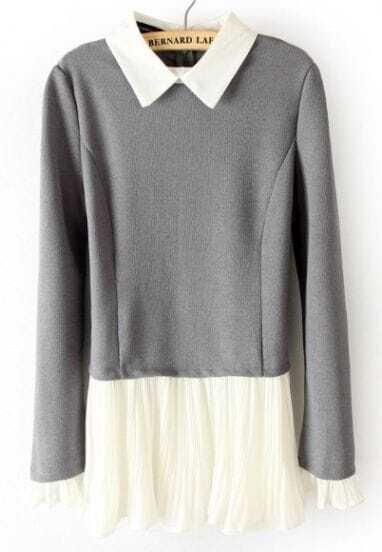 Grey Long Sleeve Contrast Pleated Ruffles Sweater