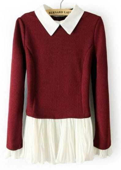 Red Long Sleeve Contrast Pleated Ruffles Sweater