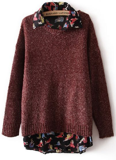 Red Long Sleeve Girls Print Chiffon Two Pieces Sweater