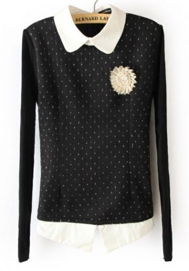 Black Long Sleeve Polka Dot Embellished Sweater