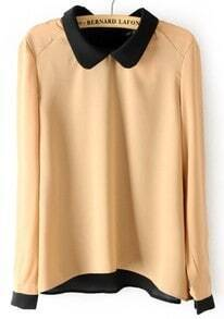 Khaki Long Sleeve Back Buttons Chiffon Blouse