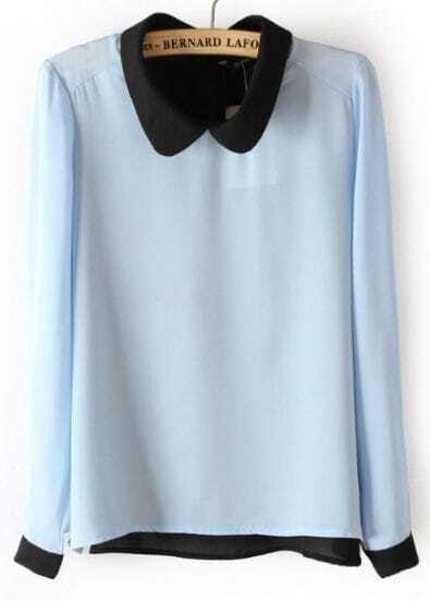 Blue Long Sleeve Back Buttons Chiffon Blouse