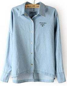 Light Blue Batwing Long Sleeve Buttons Denim Blouse