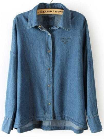 Dark Blue Batwing Long Sleeve Buttons Denim Blouse