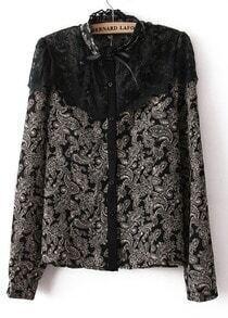 Black Stand Collar Shoulder Lace Floral Blouse