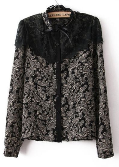 Black Stand Collar Shoulder Lace Floral Blouse