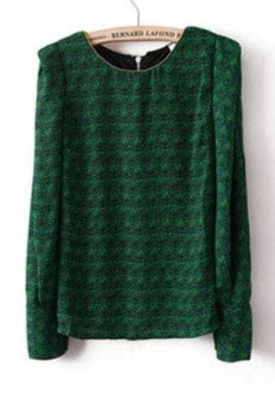 Green Puff Long Sleeve Floral Beaded Blouse